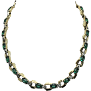 MAZER Vintage Emerald Green Glass Rhinestone Gold Plated Necklace