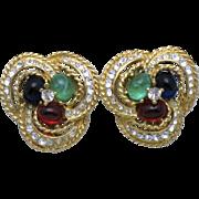 SALE CINER  Moghul Emerald Green, Sapphire Blue, Ruby Red Cabochon Rhinestone Earrings