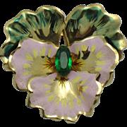 SALE CORO Sterling Vermeil Figural Pansy Flower Brooch Vintage 1940s
