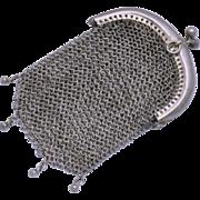 Hallmarked European 800 Silver Chain Mail Mesh Coin Purse Chatelaine