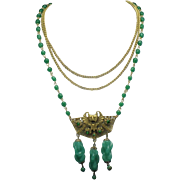 Peking Glass Beaded Necklace Filigree Chinese BAT Pendant