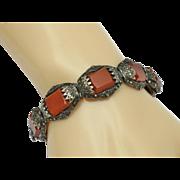 SALE ART DECO Sterling Silver Germany Carnelian Marcasite Bracelet