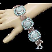Vintage CAROLEE LUX  Rhinestone Cabochon Wide Bracelet with Tag Retail $150