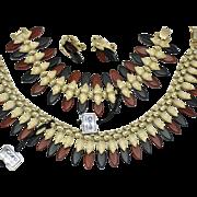 CORO Lucite Necklace Bracelet & Earring Set MINT Original Tags