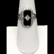 Antique Edwardian Sterling Silver Onyx Diamond Ring SZ 5.5
