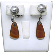 Victorian Sterling Silver Banded Agate  Screwback Drop Earrings Hallmarked