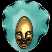 "Elzac Lucite Copper Face Mask Brooch Vintage 1940s Large 3"""