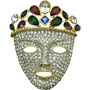 Vintage Face Pin Gold Plated Rhinestone Tribal Mask Brooch