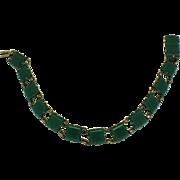 Sterling Silver Art Deco Chrysoprase Link Bracelet Hallmarked