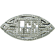 Sterling Silver ART DECO Marcasite Brooch Removable Monogram