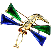 TRIFARI Sterling Philippe 1940s Faux Emerald Sapphire Dragonfly Brooch