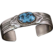 LEE BENNETT Navajo Native American Sterling Silver Turquoise Cuff Bracelet 52 grams