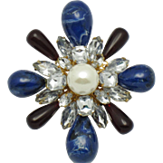 """Large ARNOLD SCAASI  Rhinestone Pearl Cabochon Large 3.5"""" Brooch and Pendant"""