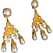 "SALE CINER Vintage 3"" Faux Pearl Rhinestone Runway Statement Drop Dangle Earrings"