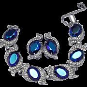 Vintage Signed SCHIAPARELLI Blue Aurora Borealis  Bracelet Earrings SET
