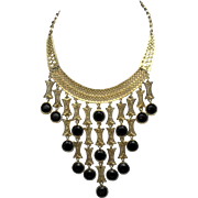 Egyptian Revival Bib Necklace Drop Gold Plated Black Glass