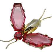 JOLLE STERLING Hess-Appel  Vintage  1940's Pink Glass Winged Bug Insect Brooch