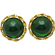REDUCED PHILIPPE FERRANDIS French Poured Glass Emerald Green Couture Earrings
