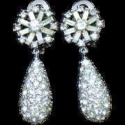 Gorgeous Vintage 1950's  PENNINO Rhinestone Dangle Drop Earrings