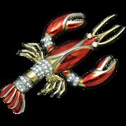 Rare Vintage 1940's Lobster Brooch Metallic Red Enamel Rhinestone Trembler BK PC Boucher