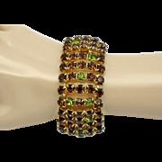 Wide ALICE CAVINESS Vintage 1950's 5 Row Rhinestone Bracelet Topaz Peridot Gold Plated