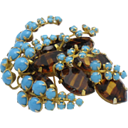 Rare Dimensional MIMI Di N Vintage Gold Plated  Brooch Tiger Eye Glass Turquoise