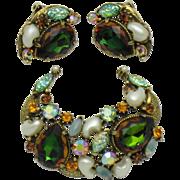 FLORENZA  Vitrail Watermelon Rhinestone Pearl Demi Parure Set Brooch Earrings
