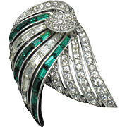 BOUCHER Articulating Emerald Ice Rhinestone Brooch Gorgeous
