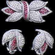 CINER  Rhinestone Tulip Brooch Pin Earrings Set Demi Parure