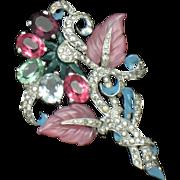 MAZER Vintage Deco Style Fruit Salad Flower Leaf Rhinestone Bouquet Fur Clip  Pin