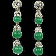 "Vintage 1950's VENDOME Earrings Triple Faux Jade Globes Drop Dangle 3"""