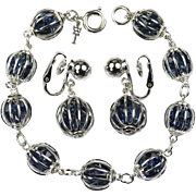 TRIFARI Philippe Caged Faux Sapphire Rhinestones Bracelet Earrings SET