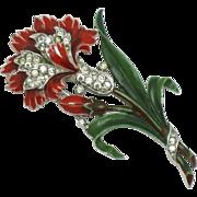 1940s Trifari Philippe 'Carnation' Fur Clip Pin Red Enamel Rhinestone Book Piece