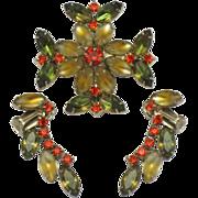 Vintage Figural Maltese Cross Brooch Earring DEMI SET  Satin Navettes