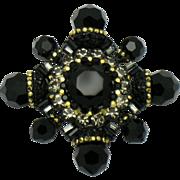 BARRERA Figural Maltese Cross Brooch Pin Black Glass Rhinestone