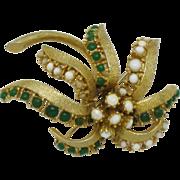 HATTIE CARNEGIE Figural Brooch Trembler Flower Pin
