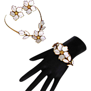 TRIFARI 1951 Poured Glass 'Dogwood'  Necklace Earrings Bracelet 3 Piece SET