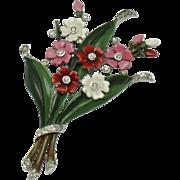 TRIFARI  1940 'Flowers' Enamel Rhinestone Floral Bouquet Fur Clip Pin BK PC