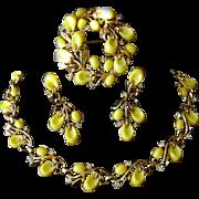 TRIFARI Pebble Beach 1956 Parure Yellow Lucite Necklace, Brooch, Earrings Set