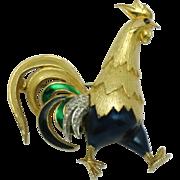 JOMAZ Mazer Figural Rooster Enamel Rhinestone Brooch Pin