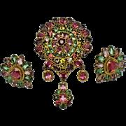 REDUCED ORIGINAL BY ROBERT Demi Parure Rhinestone Wire Filigree Dangle Brooch and Earrings Set