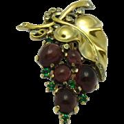 TRIFARI 1945 Sterling Vermeil Alfred Philippe Purple Cabochon Grapes Pin Clip Pristine