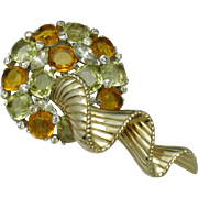 Unsigned Designer Rhinestone Flower Brooch Gold & Rhodium Plated 35 Grams