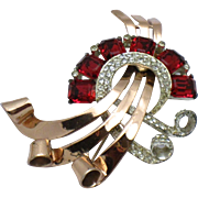 CORO CRAFT Corocraft Sterling Vermeil 1943 Ruby and Ice Rhinestone Brooch