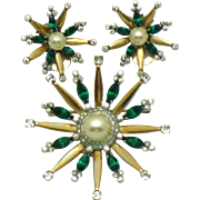 MAZER STERLING Vintage 1940s Star Snowflake Emerald Rhinestone Brooch and Earrings Set