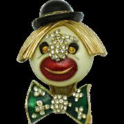 CINER Enamel Rhinestone Clown Face  Figural Brooch Pin