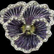 Boucher Purple Metallic  Enamel Pearl Rhinestone Pansy Brooch Pin 1950