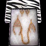 SALE Very Rare Rhinestone Enamel Figural Wishbone Chatelaine Brooch & Earrings SET