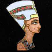 1920's Egyptian Revival Enamel Nefertiti Brooch