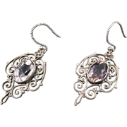 Vintage Amethyst Filigree Earrings
